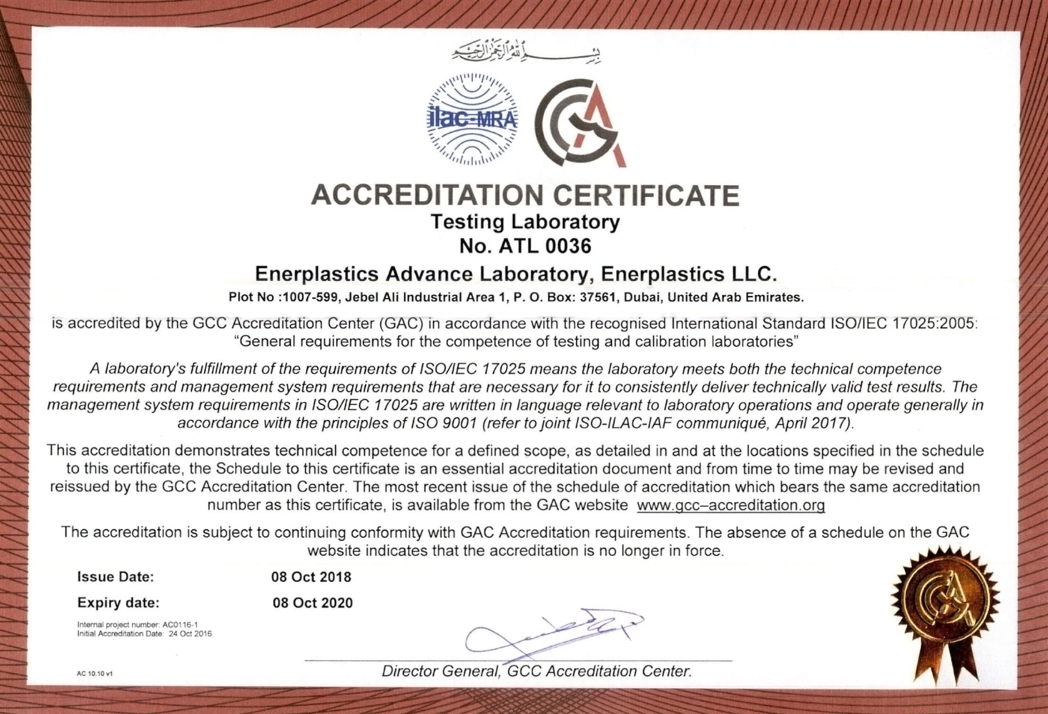 GAC ISO17025 IEC GCC ACCREDITATION ENERPLASTICS
